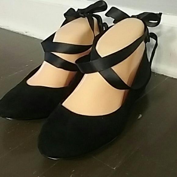 Lord Taylor Ballet Flats Black Ribbons